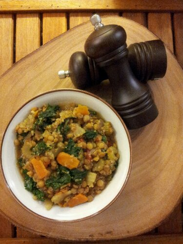 Lentil and kale stew, kale recipe, lentil recipe, healthy recipe