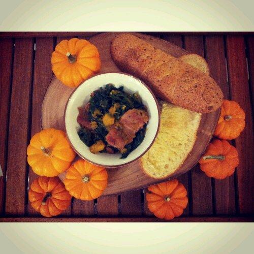 Pumpkin bacon kale hash, pumpkin recipe, pumpkin and kale recipe, healthy bacon recipe, healthy recipe