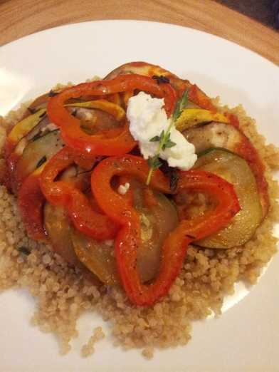 Ratatouille, zucchini, eggplant, pepper, quinoa, goat cheese, rosemary