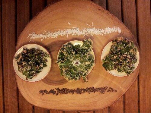 kale, kale chips, kale dessert, cacao nibs, coconut