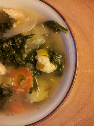 Citrus kale chicken soup