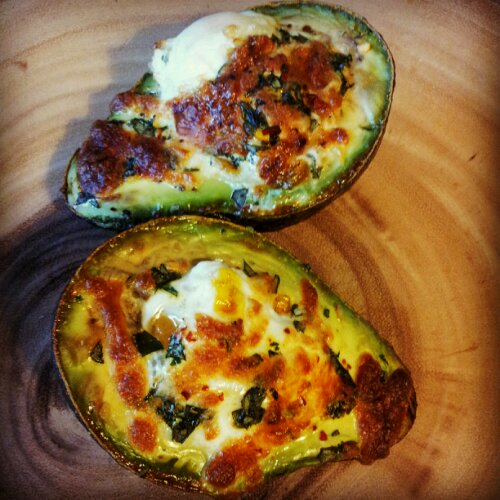 Delicious way to enjoy eggs and avocados! Baked!