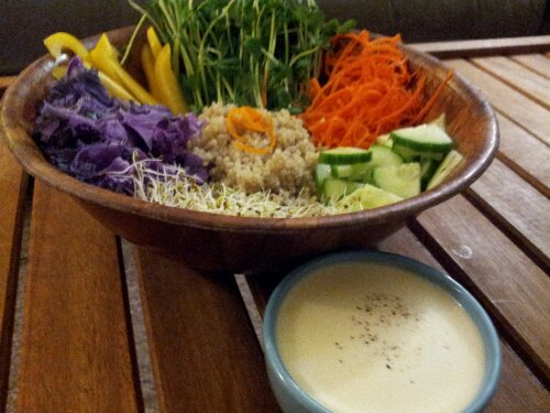 Rainbow Bowl with Citrus Dressing, Veggies to make you Glow!