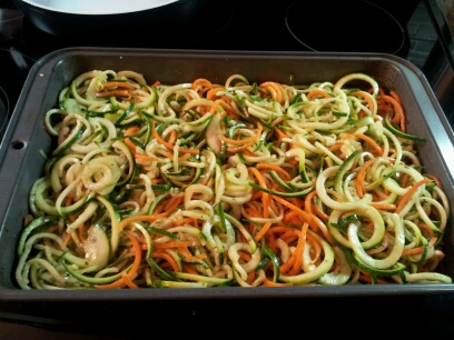 Spiralized vegetable bake