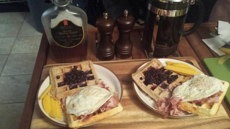 protein waffles, ham waffles, egg waffles, jam waffles